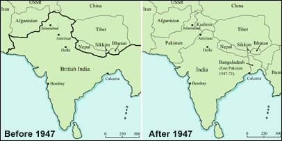 I added a map of India before 1947 and after 1948 to show ... on india and pakistan history, india pakistan migration, india 1800s, india before pakistan, india and pakistan independence, india pakistan 1947, india after independence, india and pakistan conflict 2013, india colonial period, india split, india before 1947, india during british rule, india after partition, india in 1947,