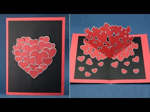 Diy Valentine Pop Up Card How To Make Pop Up Hearts Card For Valentine 39 S Day Youtube Pop Up Card Templates Valentines Cards Diy Valentines Cards