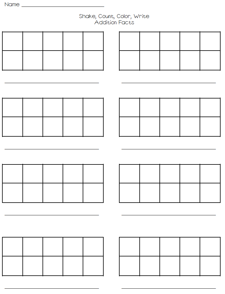 Shake, Count, Color, Write - Addition Facts to 10 on Tens Frame ...