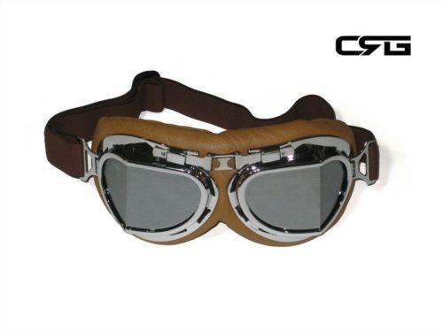 Leather Vintage Goggles Aviator Pilot Glasses Anti-UV Cycling Sunglasses Black
