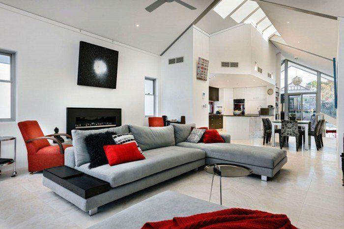 Salon Ultra Moderne, Peinture Murale Blanche, Canapé Gris, Quelques Accents  Rouges Et Noirs, Amenagement Salon Esthétique