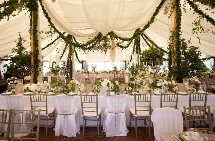 Gorgeous Greenery Garland Draped From White Tent With