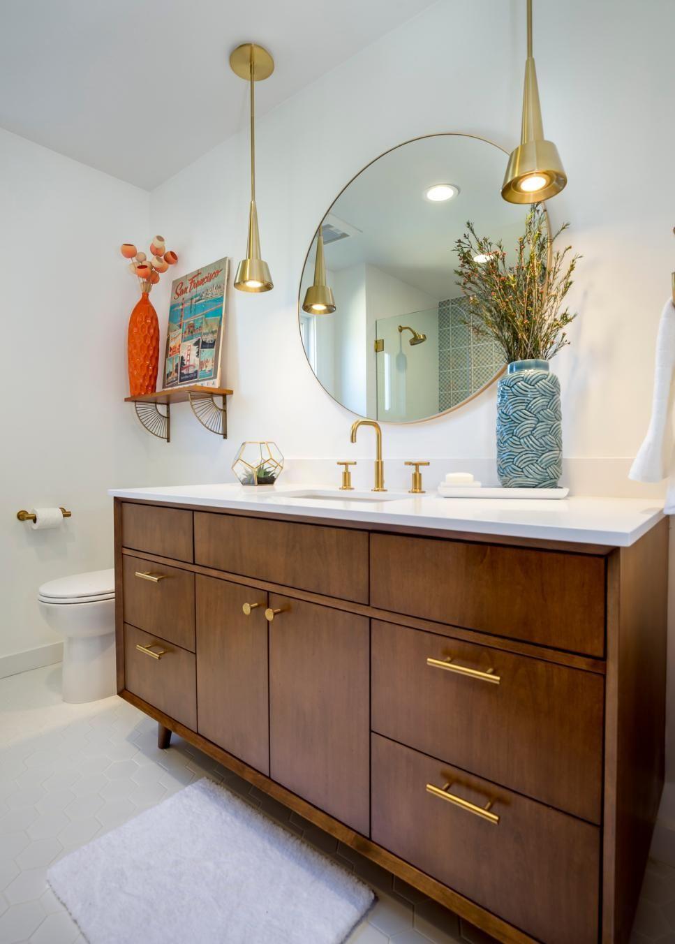 Gold Midcentury Modern Pendant Lights Add Glam To Bathroom Remodel