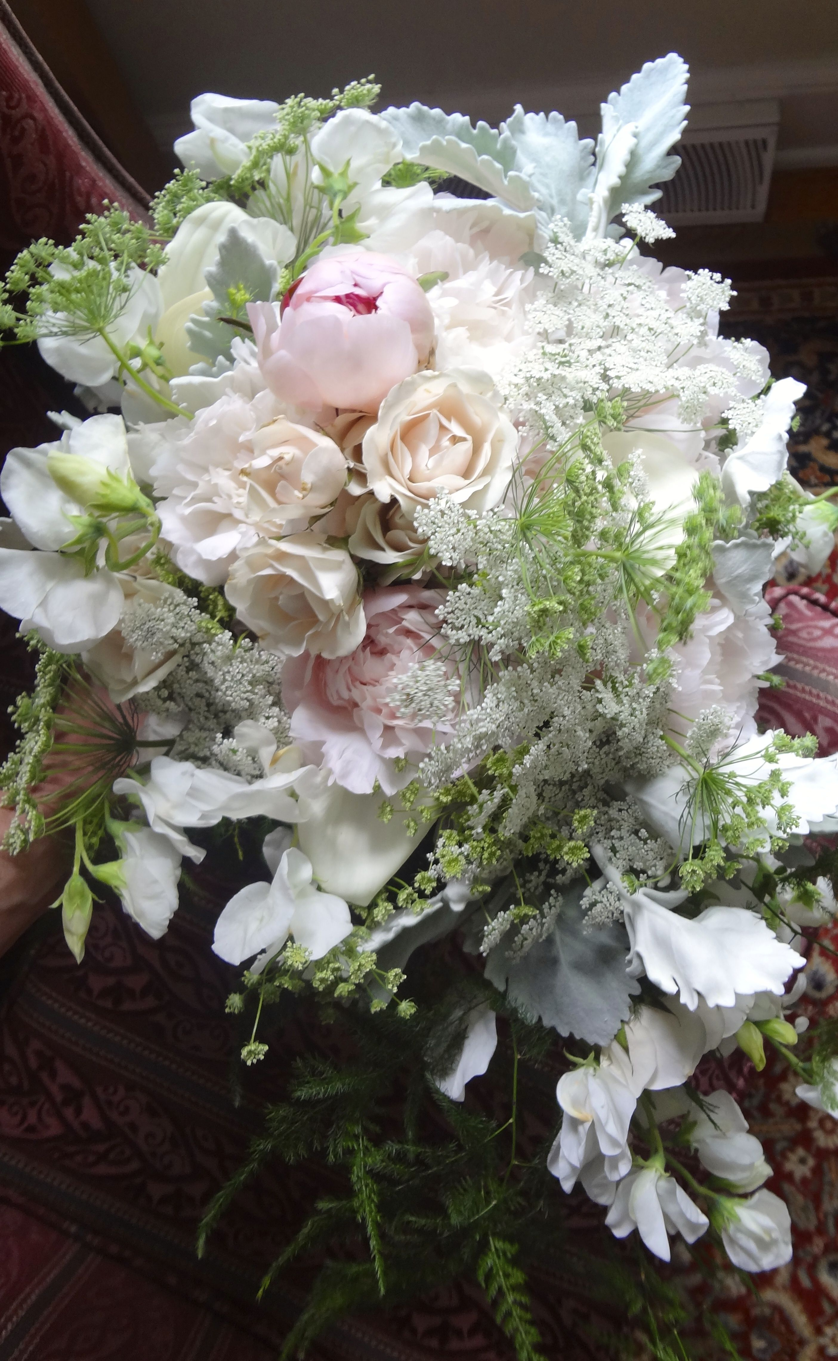 Dusty miller peonies callas roses queen annes lace
