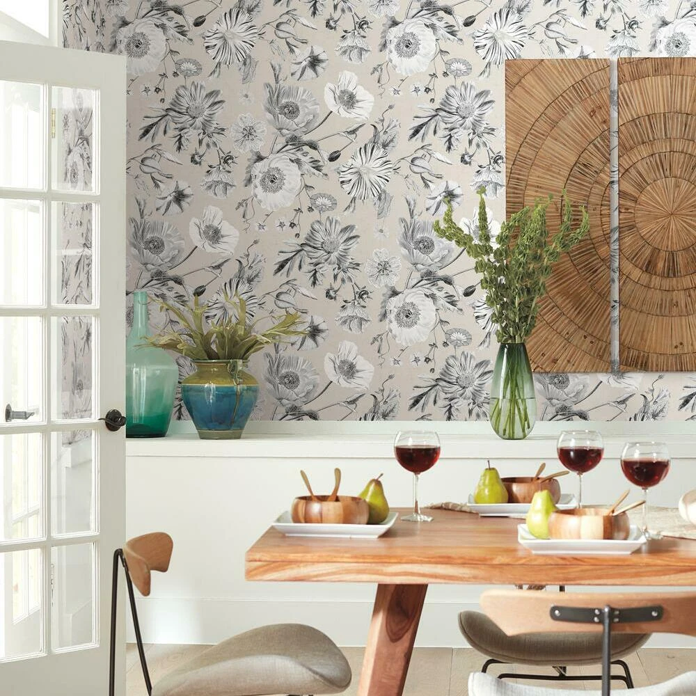 Vintage Poppy Peel And Stick Wallpaper Peel And Stick Wallpaper Dining Room Accent Wall Dining Room Accents