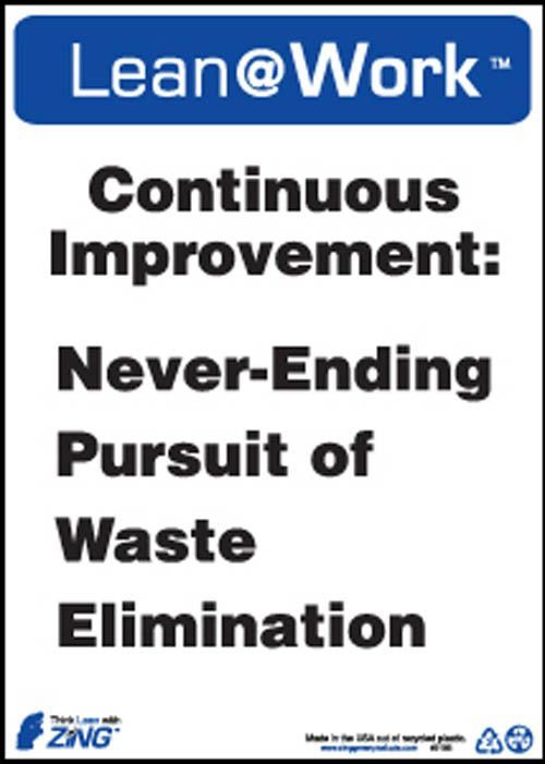 Lean Sign, Continuous Improvement, 10x14, Recycled Plastic Small