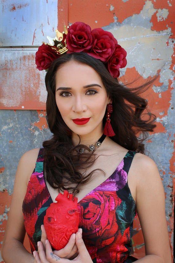 SIDE Dark Rose Flower Crown Headband (Mexican Royal Royalty Queen Princess Costume Headpiece High Fa #crownheadband