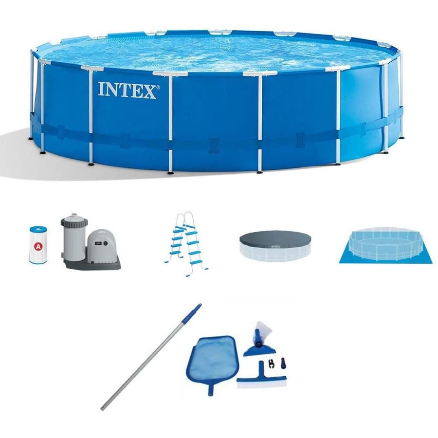 Intex 15 Ft X 15 Ft X 48 In Round Above Ground Pool 114886 In 2020 Intex In Ground Pools Pool Maintenance