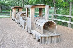 Wooden train playground, for my future backyard! Paint it blue and you have Thomas in your backyard!