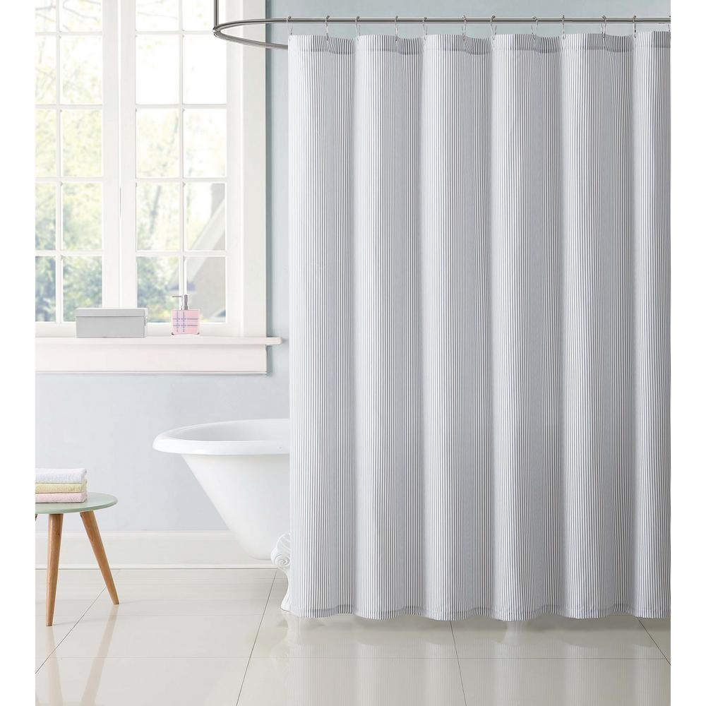 Truly Soft 72 In Stripe Gray Shower Curtain Sc2330gy 6200 Blue