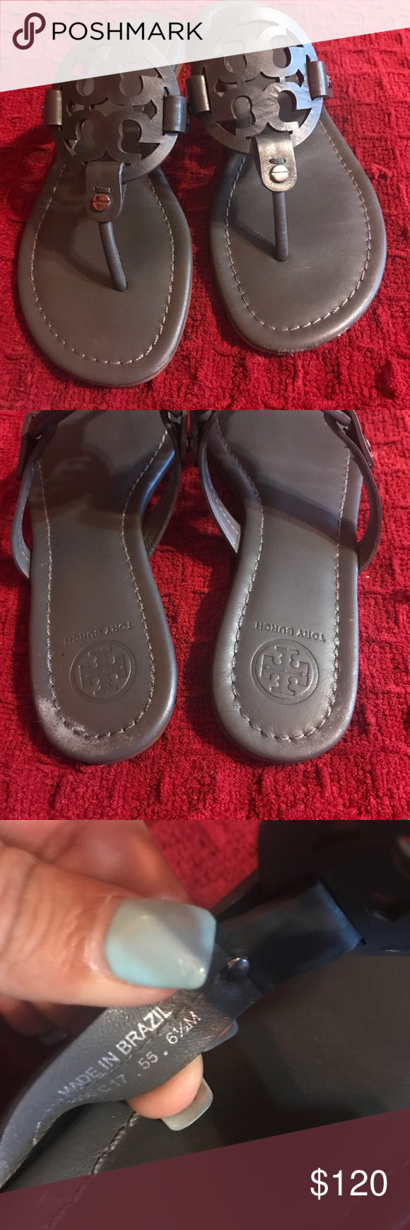 81ebd464b Tory Burch Miller Sandals In good conditions Tory Burch sandals in the dark  grey color.