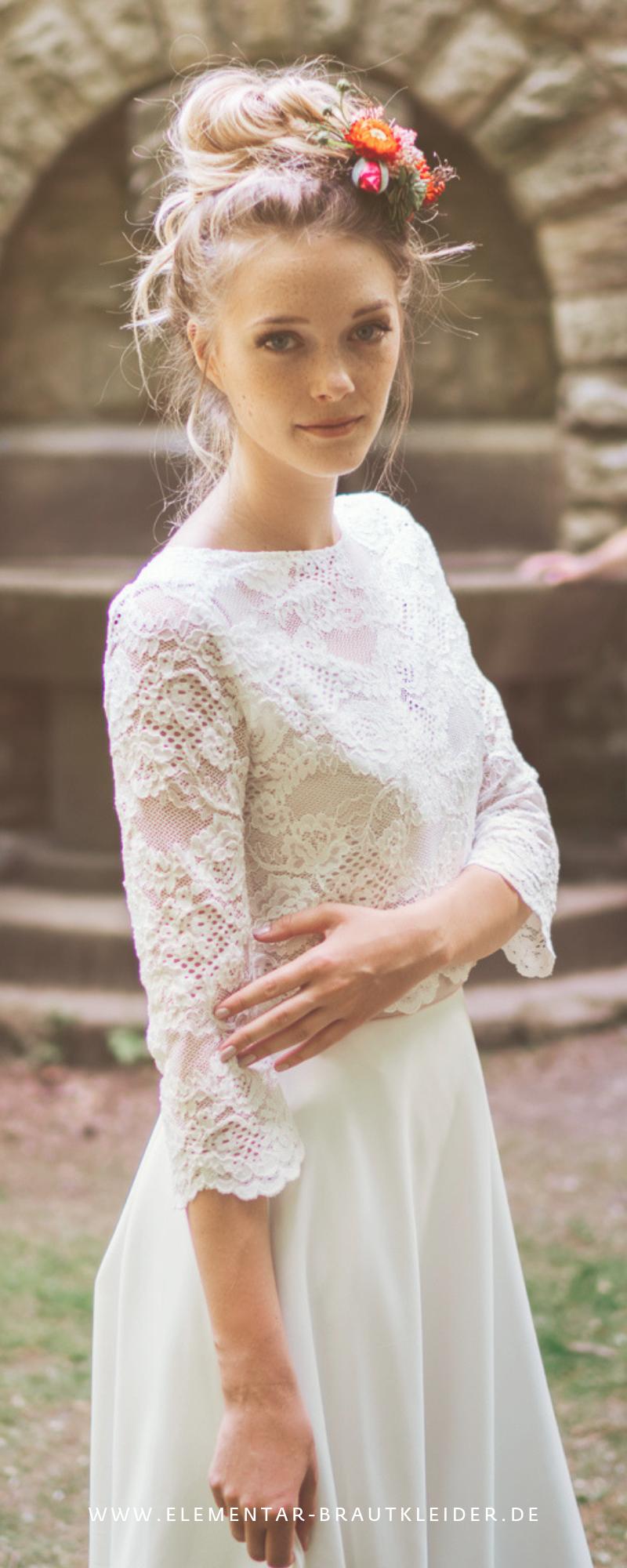 elementar - Hochzeitskleid im Boho Stil mit zarter Spitze - modern