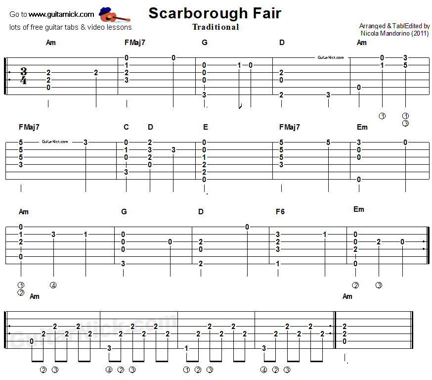 Free Easy Piano Sheet Music Score Scarborough Fair: Scarborough Fair, Finger Picking Guitar Tablature