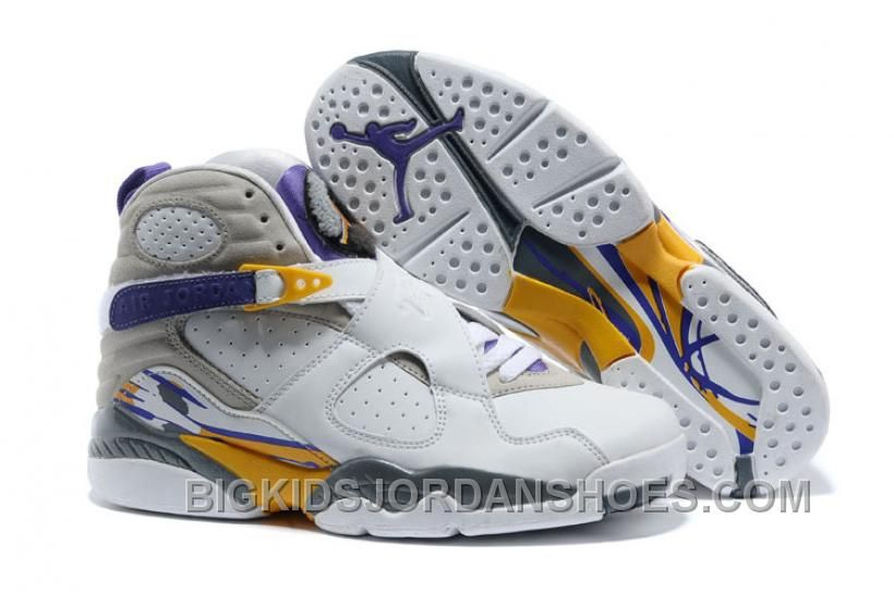 hot sale online 18390 c1afa Air Jordans 8 Retro Kobe Bryant PE For Sale, The pair pair sports a  predominately white upper with purple and gold hits on the tongue, midsole  and inner ...