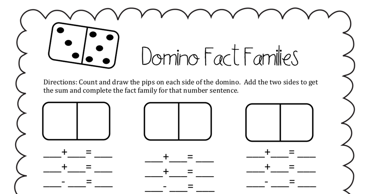 Domino Fact Families.pdf Fact families, First grade math