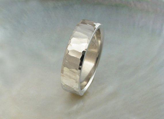 Artisan Handmade Hammered Platinum Wedding Band 6mm Wide Comfort Fit Mens Ring