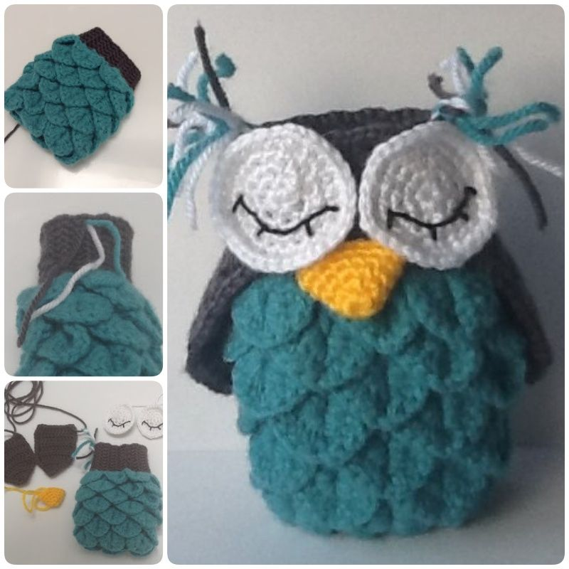 How to Crochet Crocodile Stitch Owl With Patterns | owls | Pinterest ...