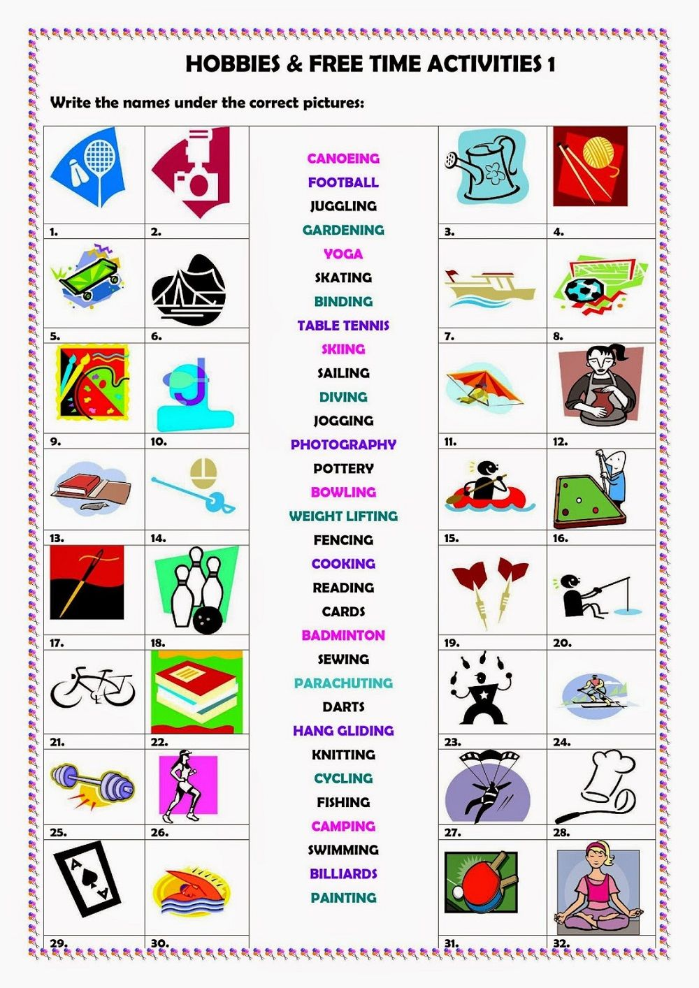 Hobby Worksheets Activity For Kids In 2020 Free Time Activities Time Activities Activities For Kids