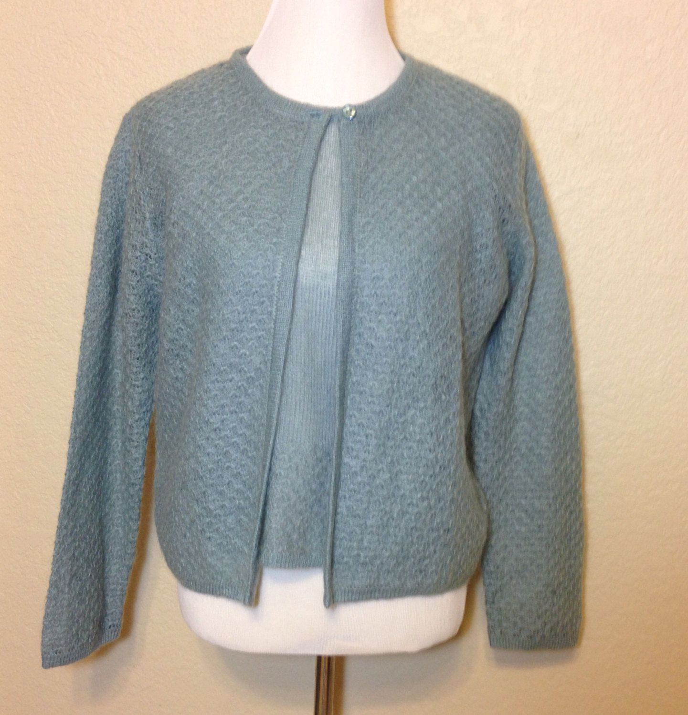 Vintage Light Blue Gray Mohair Sweater Set Short Sleeve & Long ...