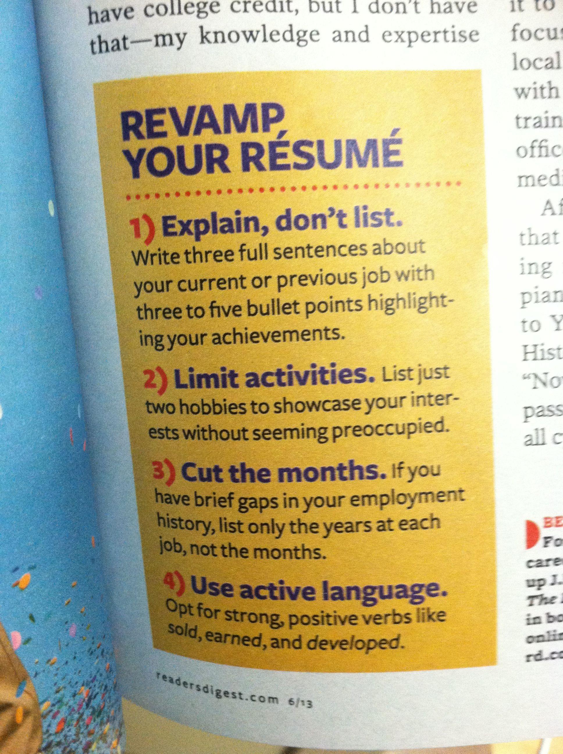 Improve your resume college credit resume improve