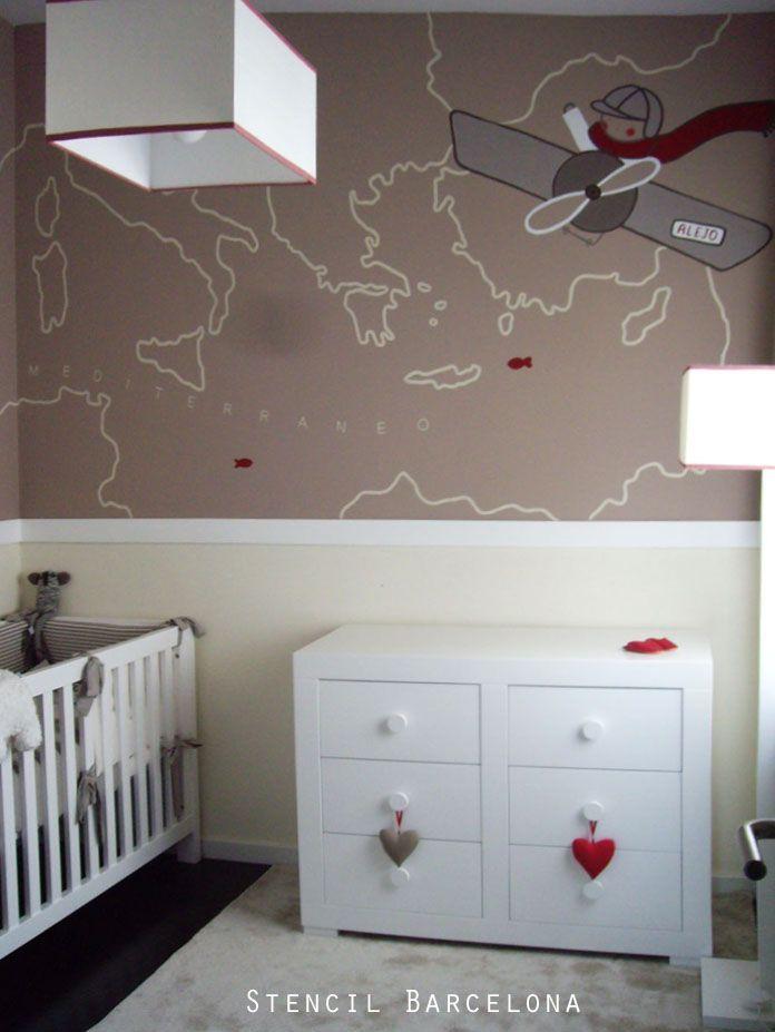 Habitaci n infantil con mural pintado por stencilbarcelona paredes pintadas pinterest - Mural habitacion infantil ...