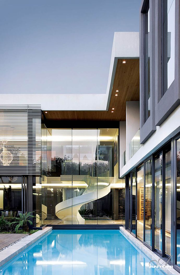 Contemporary Lighting Home- Houghton Residence, South Africa by SAOTA