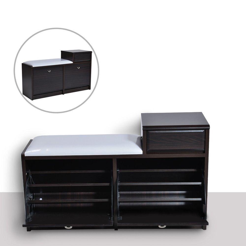 Hallway furniture shoe storage  Shoe Cabinet Storage Padded Seat Bench Brown Colour Wooden Hallway