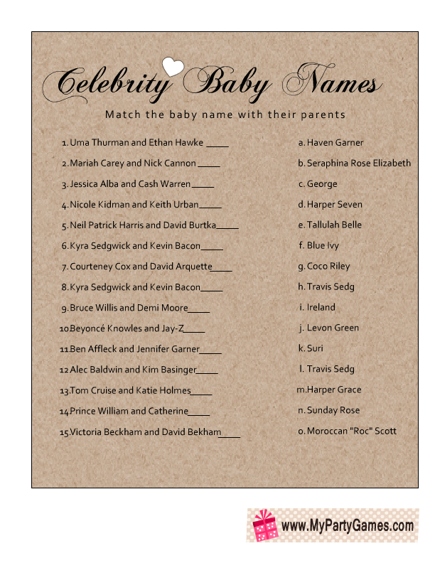 image regarding Celebrity Baby Name Game Printable titled Free of charge Printable Movie star Child Status Video game Cost-free Printable