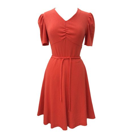 1970s cute orange vintage day dress