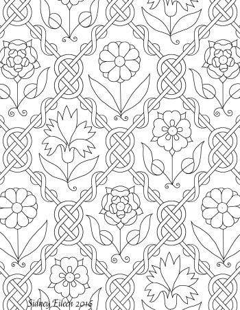 Freehand Blackwork Embroidery Pattern Transcribed By Sidney Eileen