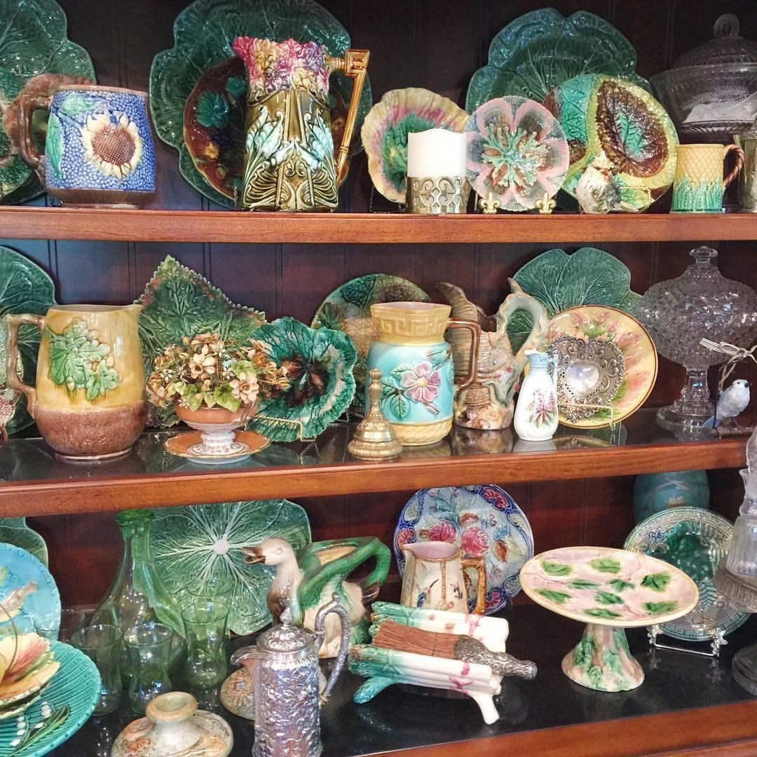 Antique Vintage Majolica Pottery Collection Majolica Pottery Antique Glass Bottles Majolica