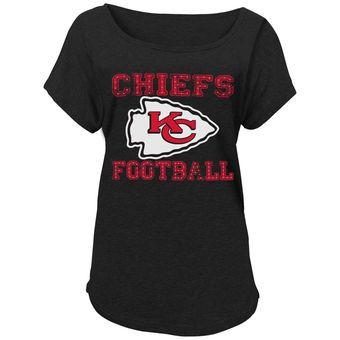 Juniors Kansas City Chiefs Charcoal Dolman Tough T-Shirt