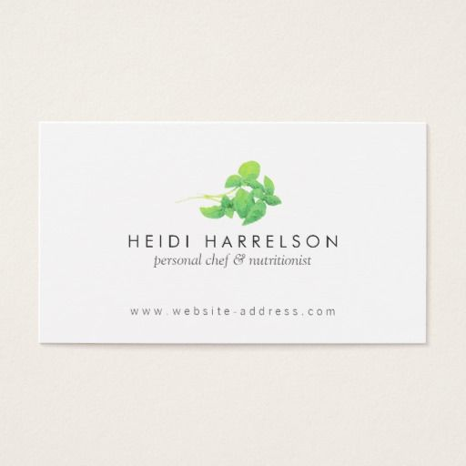 Green Leaves Nutritionist, Holistic, Naturopath Business Card - dietician sample resumes
