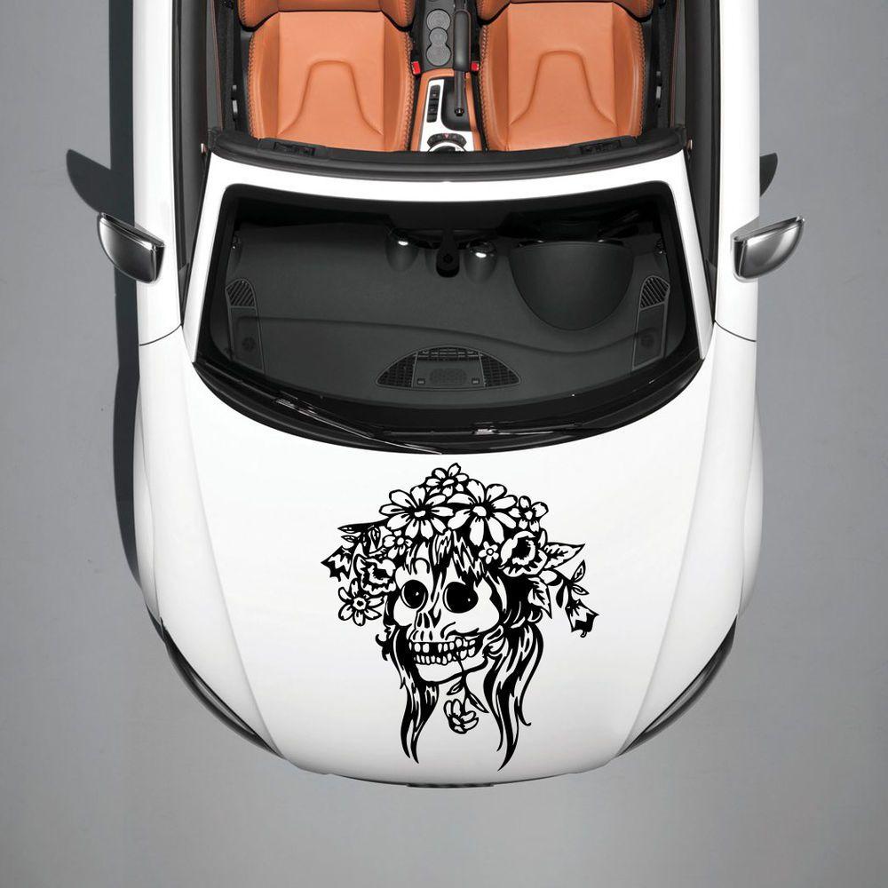 CAR HOOD VINYL STICKER DECALS GRAPHICS DESIGN FEMALE SKULL FLOWERS - Custom vinyl decals for car hoodsowl full color graphics adhesive vinyl sticker fit any car hood