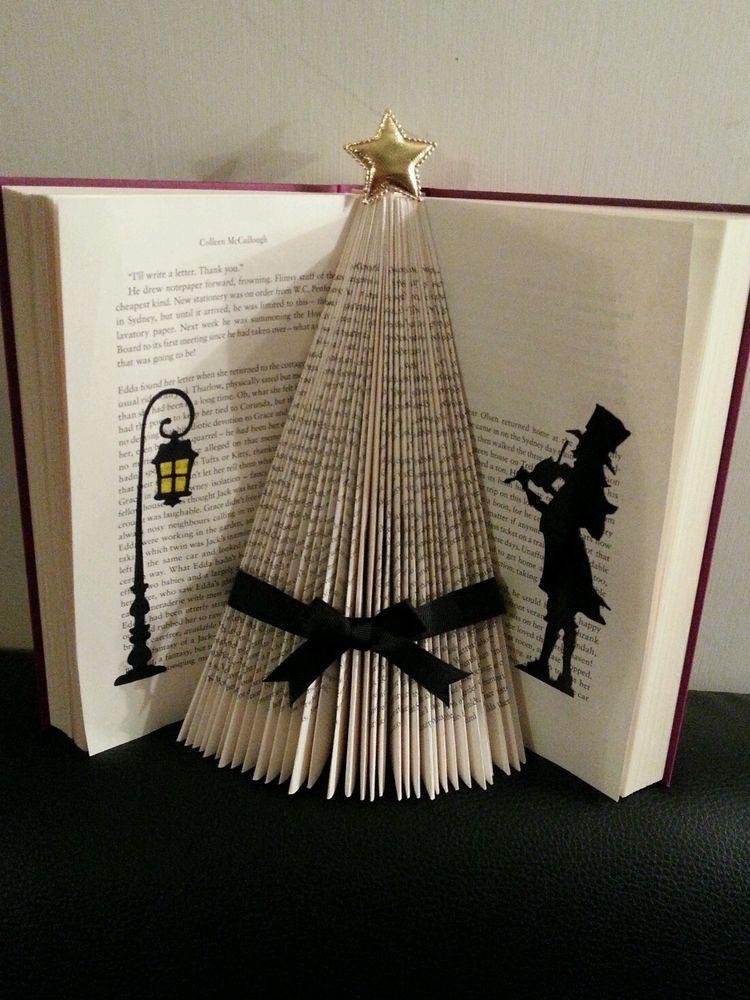 Folded Book Art Victorian Christmas Tree Black Ribbon Xmas Easy Christmas Crafts Paper Christmas Tree Victorian Christmas Tree