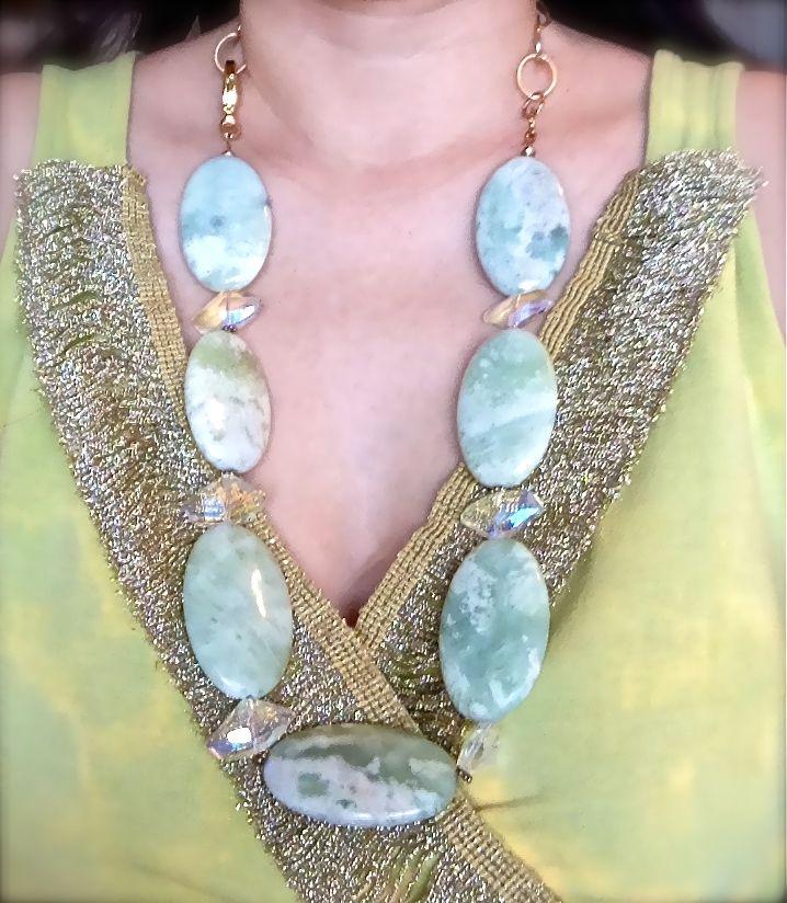 Sage Jade Gemstone Necklace with Crystals