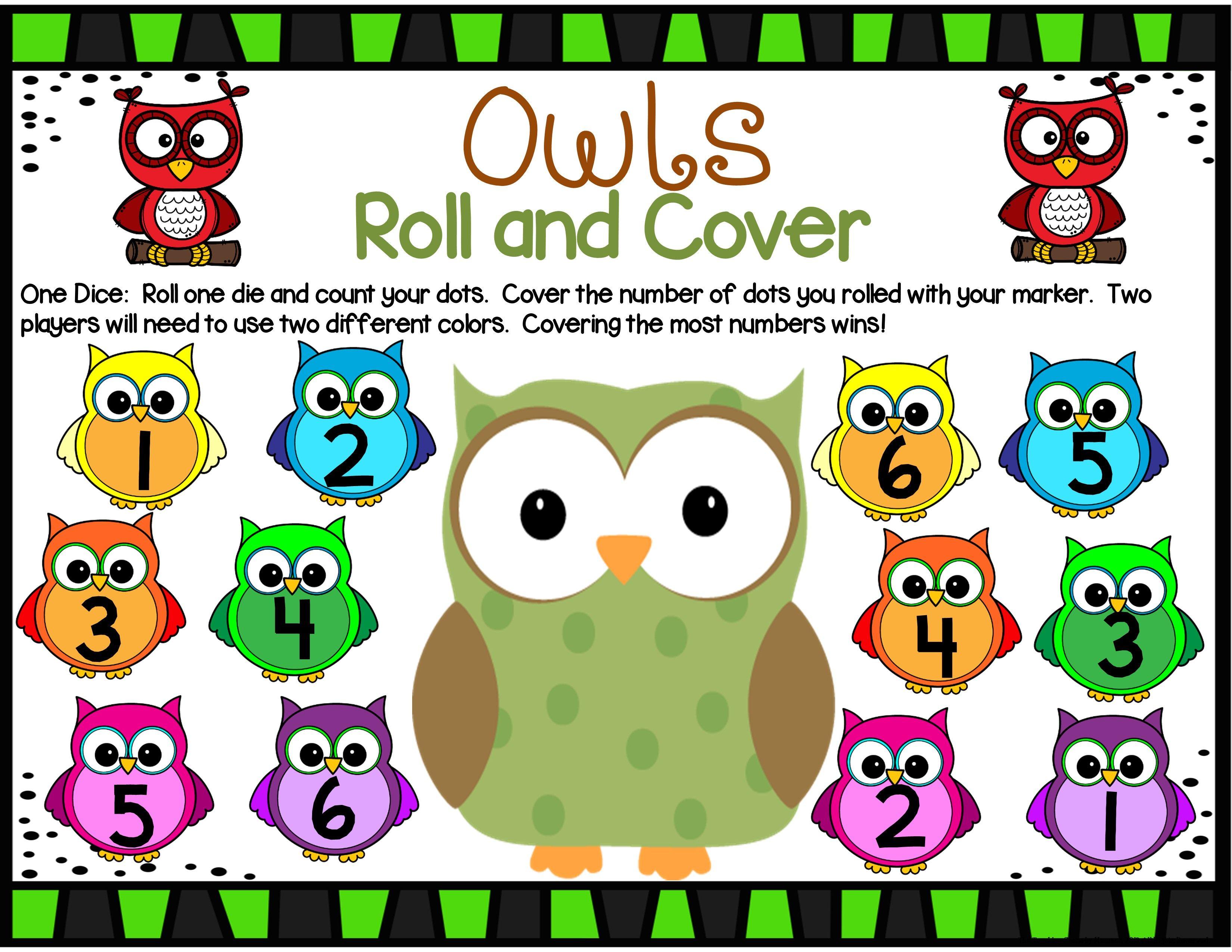 Owls Math Center Dice Games
