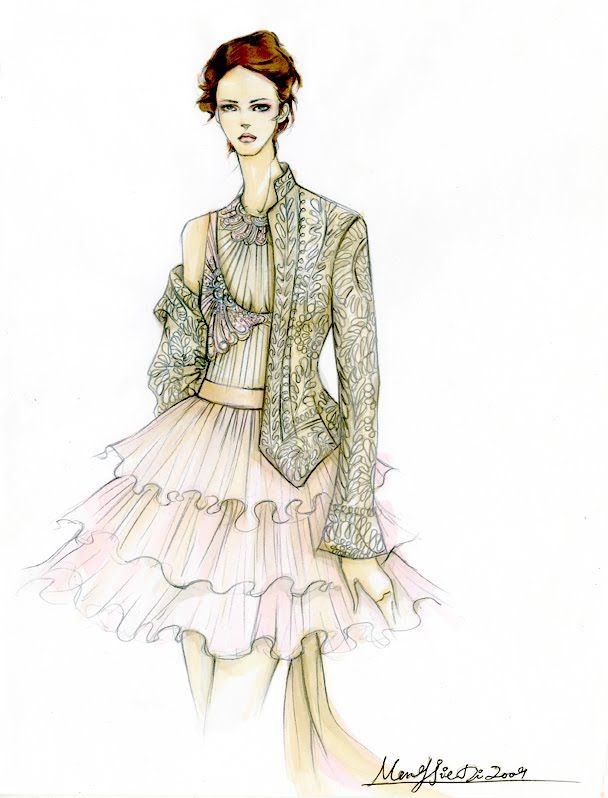 Fashion Illustrator Mengjie Di: Drawing for Maggie Norris Coututre( Pencil and Markers, Color Pencil)