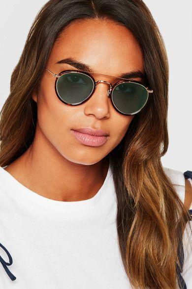 2bc4fa38365 Eyevan 7285 - Round-frame Tortoiseshell Acetate And Gold-tone Sunglasses