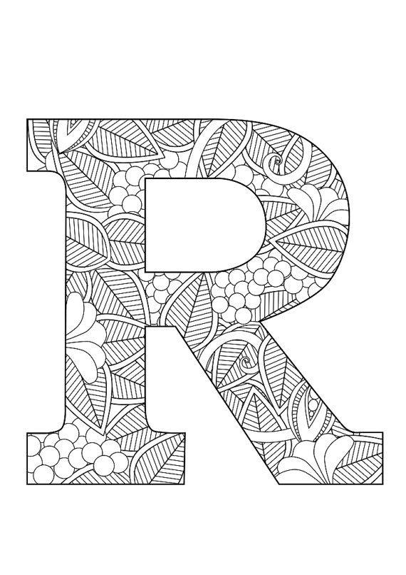 letter r floral  doodle art alphabet coloring pages
