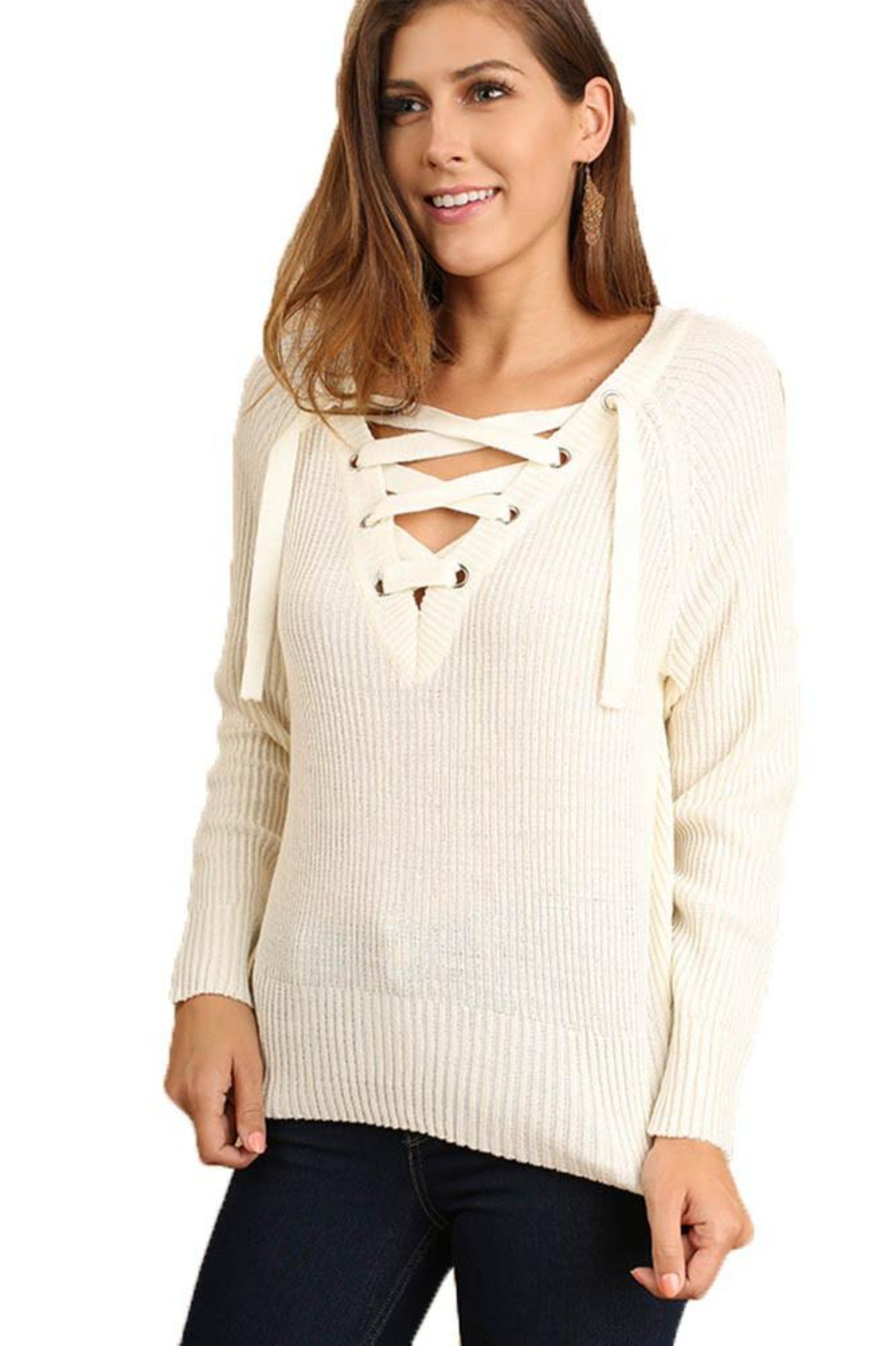 617a76b45c Umgee Women s Cream Knit Sweater with Grommet Lace-Up