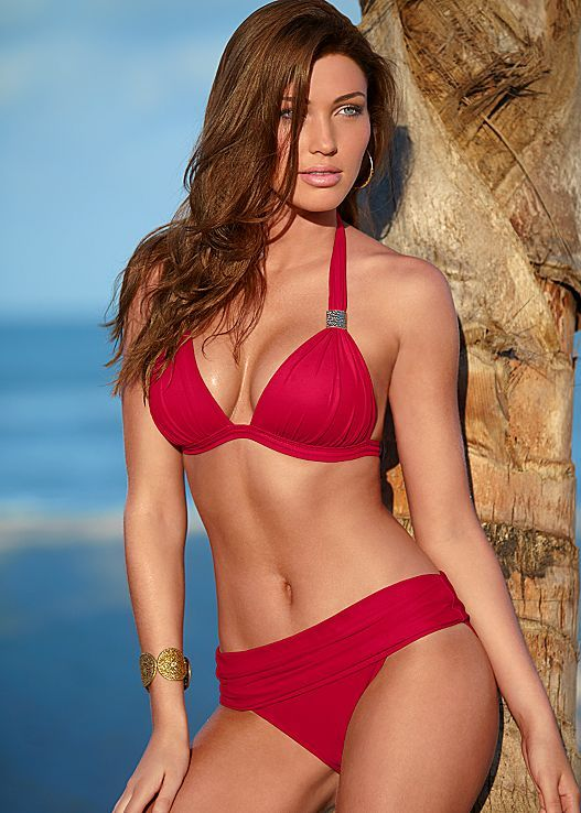 4e7d7bfca570e Red Hot Goddess enhancer top with ruched waistband bottom from VENUS. Top  available in sizes A-DD and bottom in sizes 4-16! More colors available!