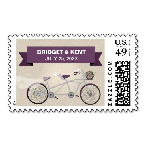 Linen Style Plum Tandem Bicycle Wedding Postage Stamp. This great business card design is available for customization. All text style, colors, sizes can be modified to fit your needs. Just click the image to learn more!