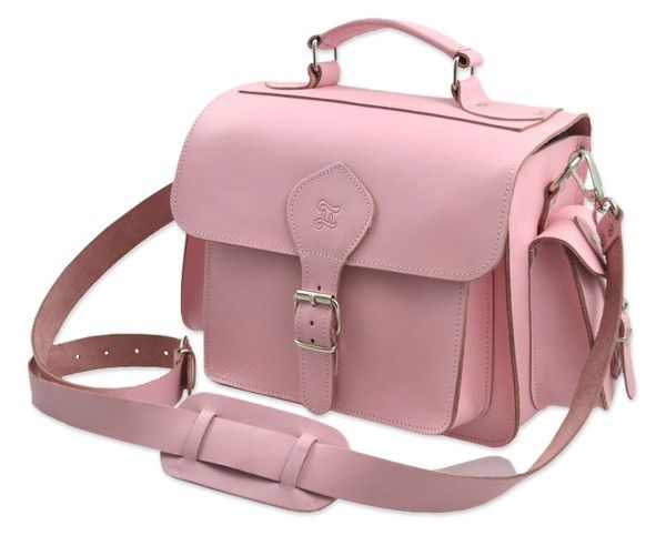 Grafea Pink Leather Handmade Camera Bag With Pockets And Buckle Fastenings