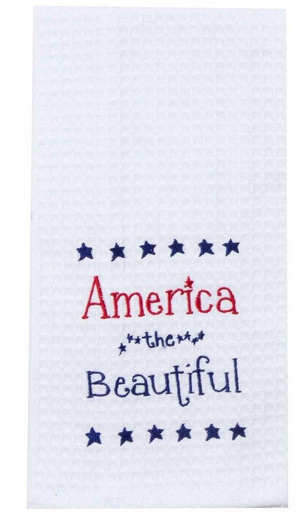 "America the Beautiful Embroidered 100% Cotton Waffle Dish Towel / Tea Towel, 18"" x 28"""