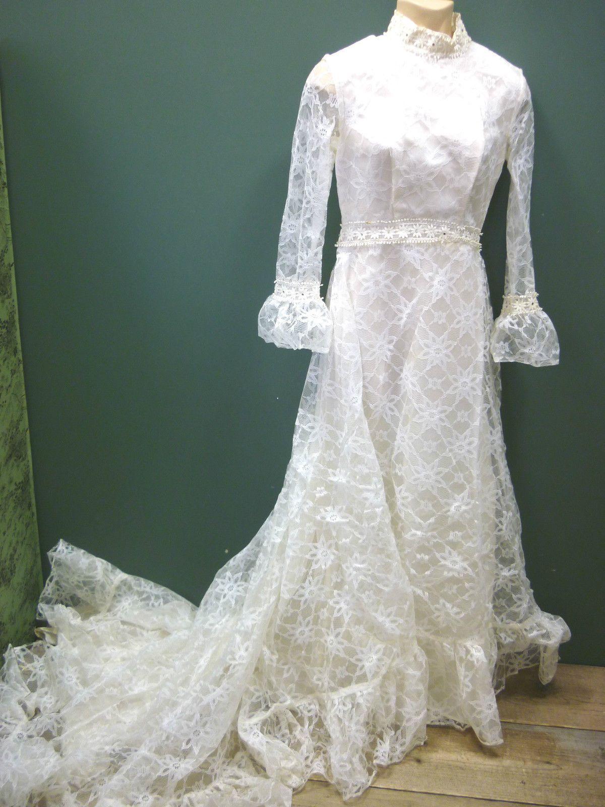 1960 wedding dresses  Handmade s Wedding Dress Ivory Lacy High Neck Bell Sleeves Train
