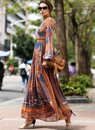 c863d1423e8 Chiffon Floral Long Sleeve Maxi A-line Dress - Floryday   floryday.com