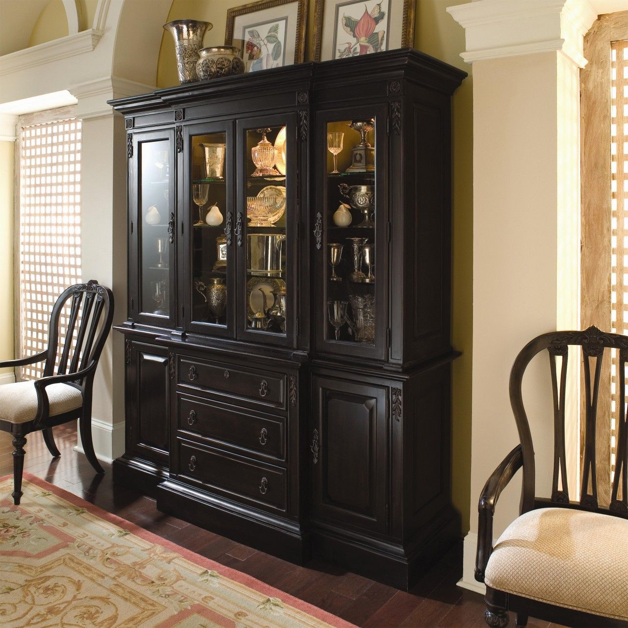 Dining Room Hutch Design Ideas Interior China Cabinet Design Ideas For A  Diningroom With Black Color Complete With Glass Ornaments Inside Complete  With Some ...