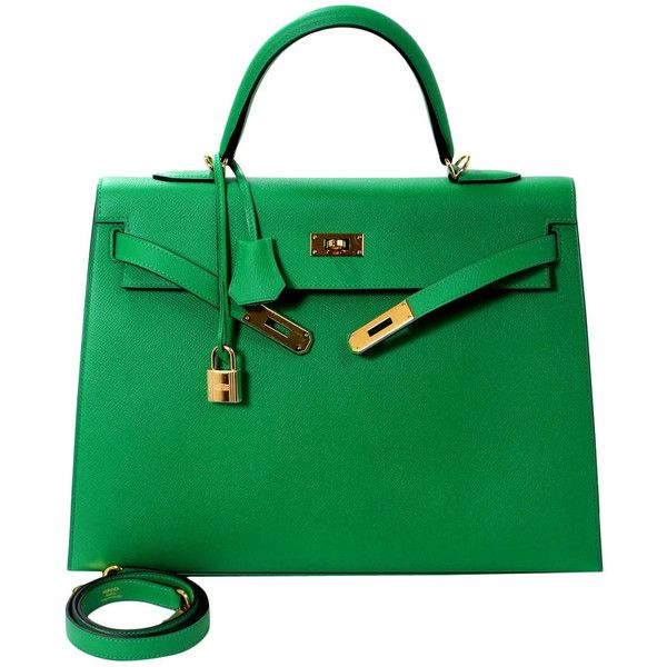 6f47d30f4d Pre-owned Hermes Bamboo Green 35 cm Kelly Bag- Epsom Leather with Gold  ( 18