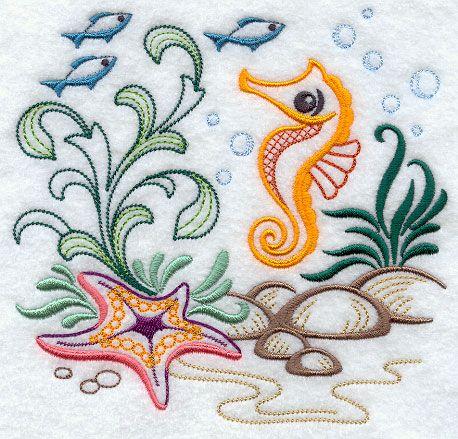 Seahorse Ocean Scene   Stitching: Fish & Ocean Life
